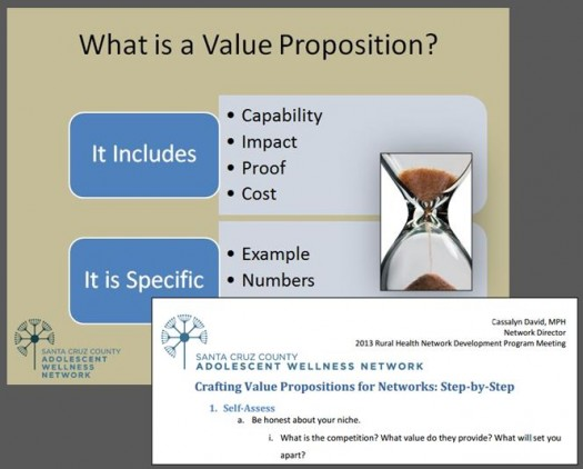 SCCAWN tailored the concept of compelling value propositions to the work of rural health networks and networks from across the country.